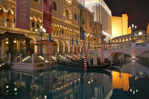 Gondolas at night, Venetian Las Vegas