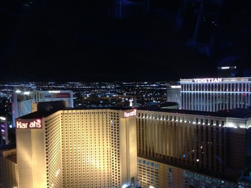 Harrahs and the Venetian at night from the High Roller