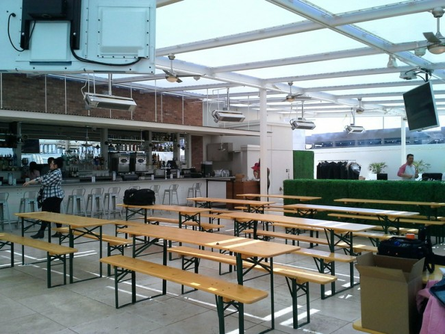 Bar and picnic tables