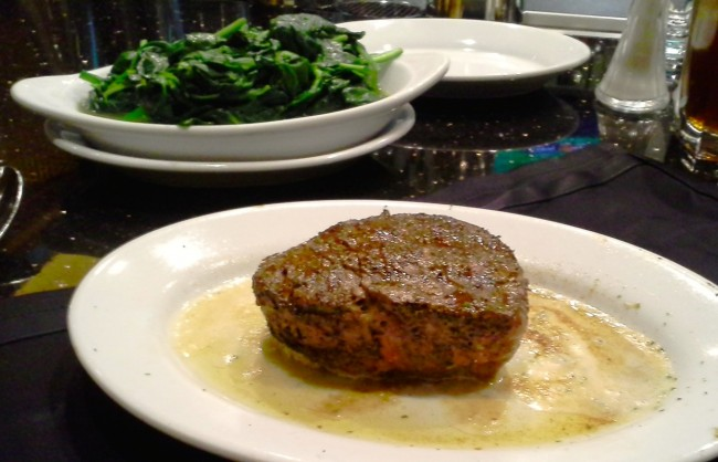 Filet mignon and sauteed spinach