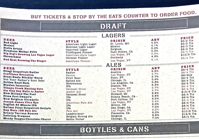 Beerhaus draft menu